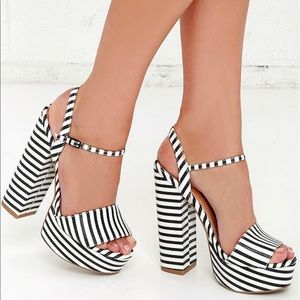 Chinese Laundry Abie Stripe Platform Sandals Heels